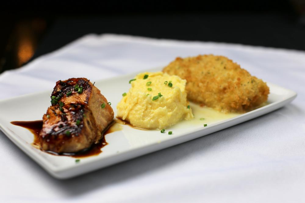 -Miso-Citrus Marinated Wild Salmon w/ Soy Reduction -Creamy Polenta w/ Manchego Cheese & Herbs -Herb-Panko Crusted Pacific Cod with Orange Muscat Champagne Buerre Blanc