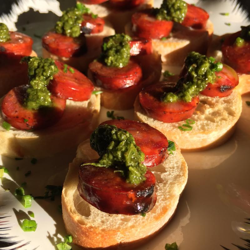 Grilled Chorizo & Chimichurri over Crostini