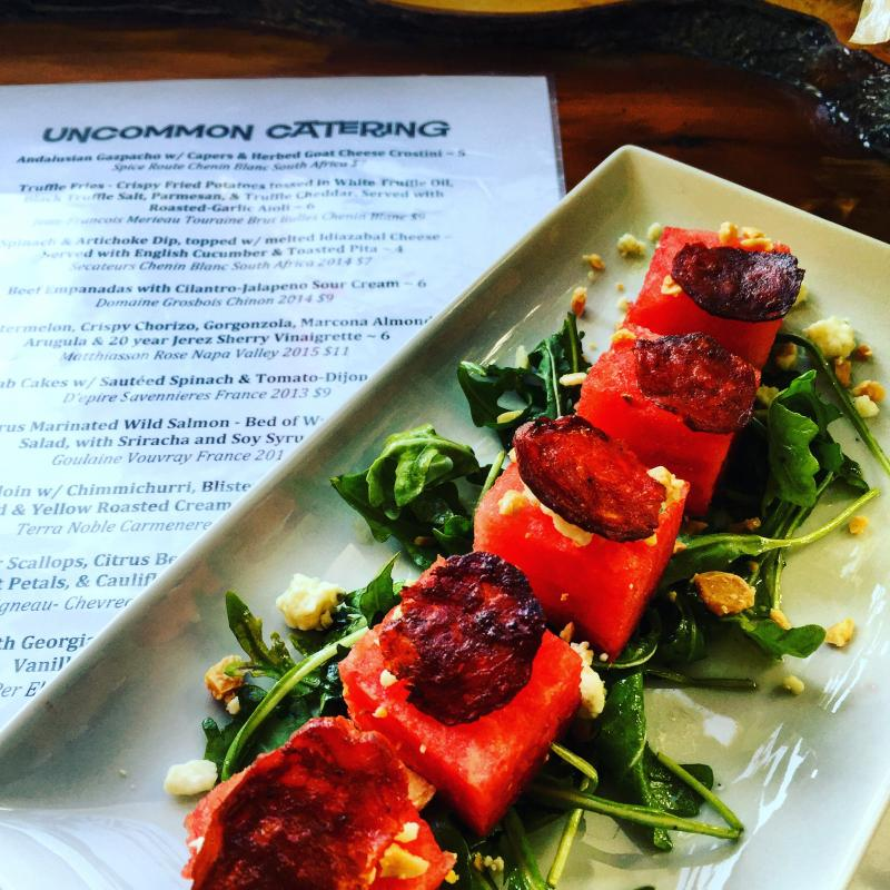 Watermelon & Chorizo Salad with Marcona Almonds, Arugula and 20 year Jerez Sherry Vinaigrette