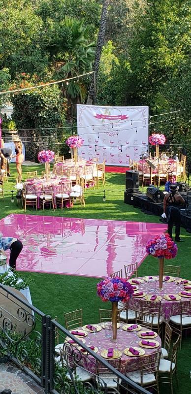 Colorful Wedding with Fuschia seamless dance floor and Gold Chiavari chairs