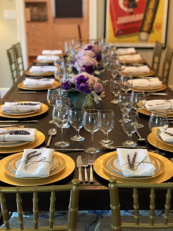 Table setup glassware, charger plates, flatware, china