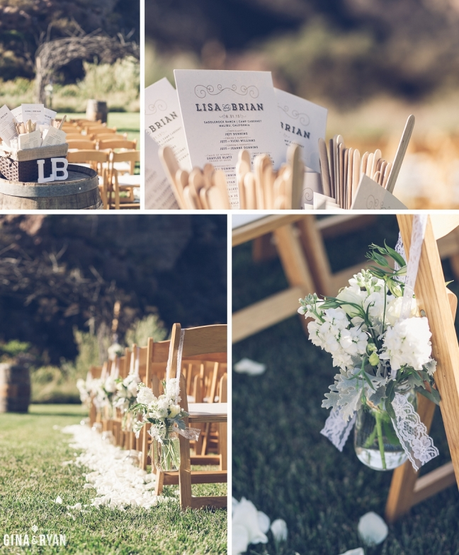 Ranch wedding with natural wood folding chairs