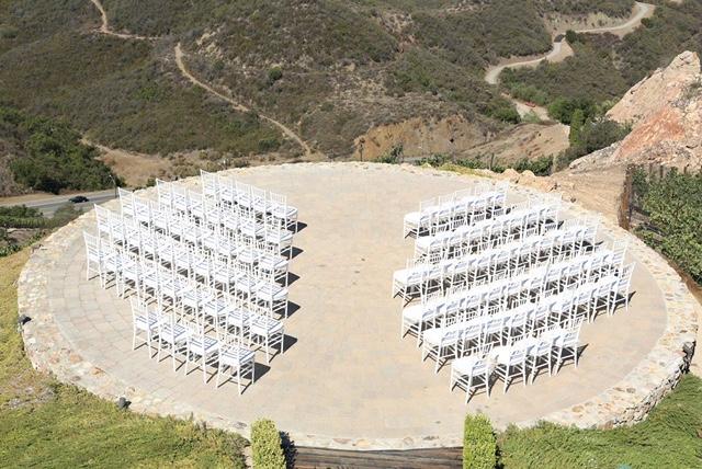 Malibu Ceremony with white resin chiavari chairs