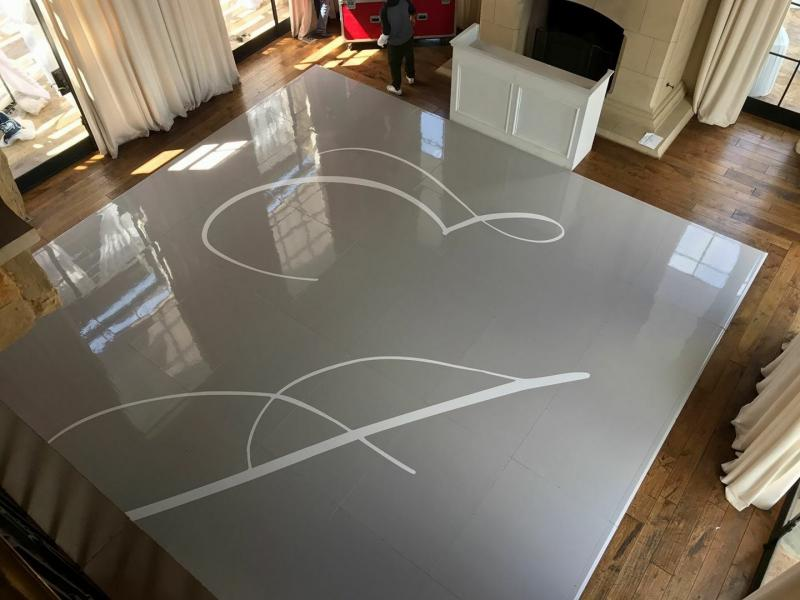 Seamless gray dance floor with decal
