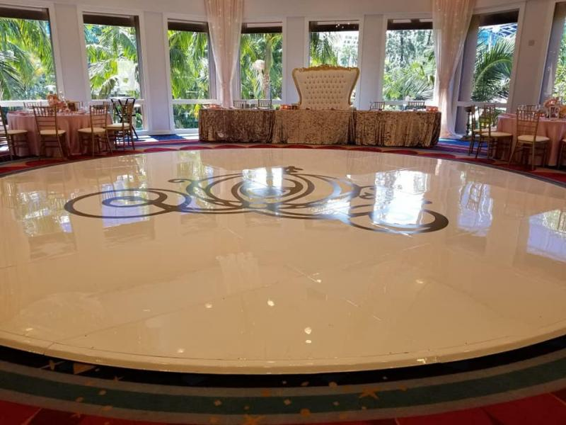 Seamless white dance floor with decal