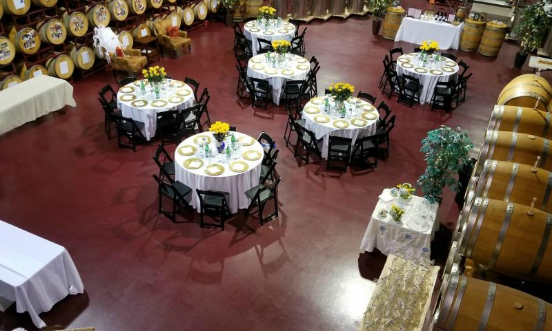 Our 3,750 sq. foot winery main floor is large enough for everything you need to create a memorable event!