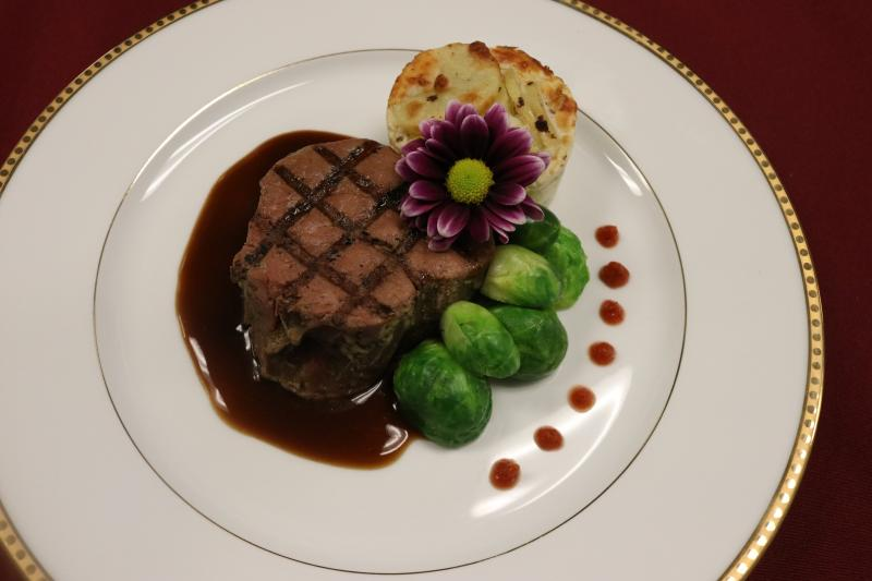 Filet with Brussel Sprouts and Potato Gratin