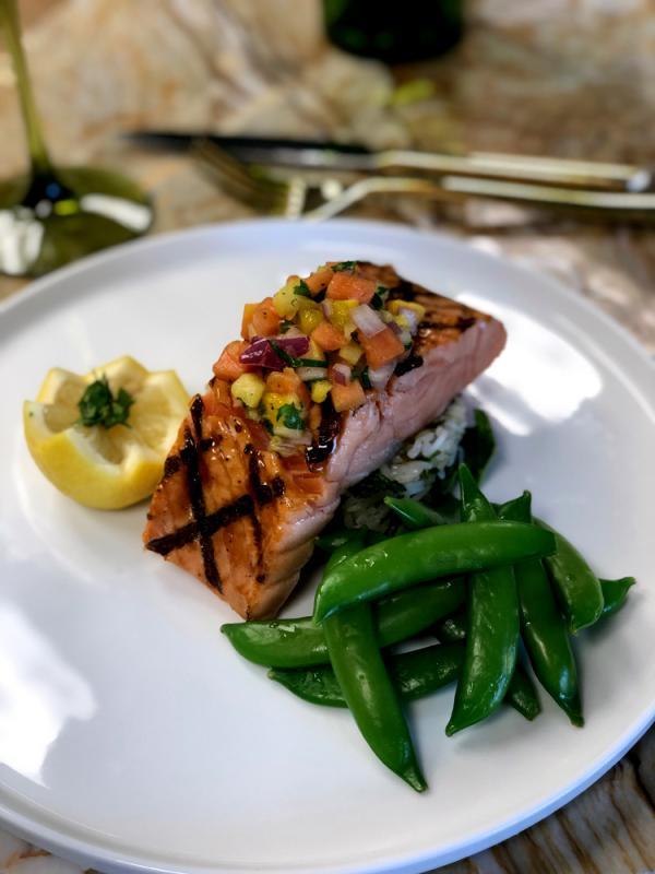 Salmon with Hoisin and Tropical Salsa